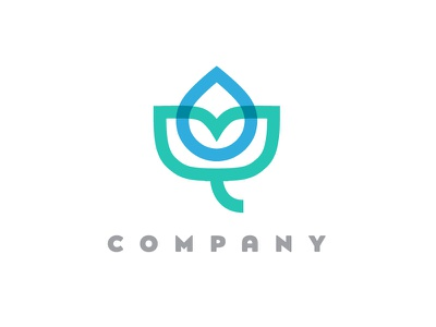 Water Drop & Plant Logo Design organic visual identity cleaning branding logo for sale watering gardening conservation protection nature flowering blooming water preservation ecology environment professional water drop leaves plants