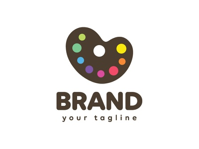 Painter's Palette Heart Logo Design cute branding visual identity logo for sale logotype colours colourful studio creative hobby rainbow paints colors colorful arts artists painting drawing heart