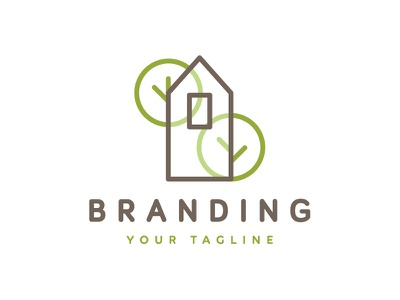 House With Trees Logo Design accommodation visual identity logo for sale branding logotype greens design landscape architecture cute small tiny gardens plants growing natural nature greenery shrubs trees house