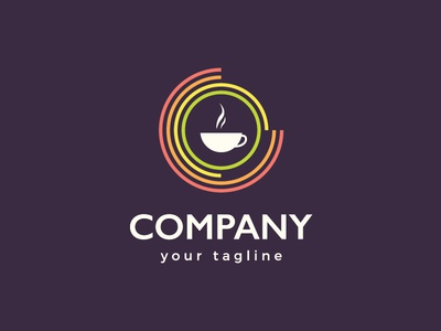 Target Coffee / Hot Drinks Bar Logo Design attractive modern clean professional for sale hot drinks cafe bar rainbow visual identity branding logotype lines colourful colorful concentric circles target aroma coffee cup cup of coffee