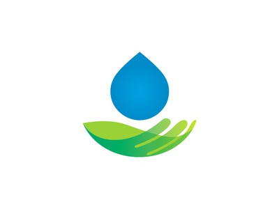 Water Protection Logo Design ecological green nature modern simple professional logo for sale visual identity branding logotype purifying clean restoration remediation protection protecting holding hand drops water