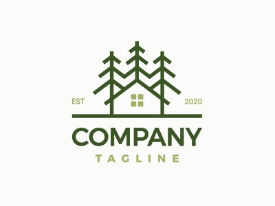 House In Nature Logo Design modern professional visual identity branding logo for sale logotype lodges chalets cabins natural forests woods spruce trees tourism touristic accommodation buildings nature houses