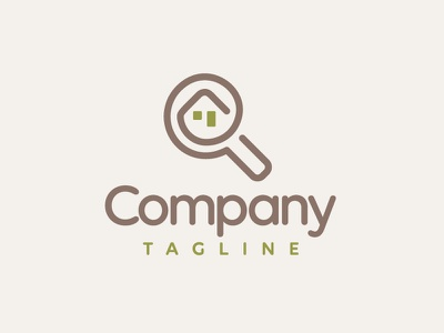 Tiny House / Real Estate Search Logo Design symbol visual identity logo for sale logotype branding portal accommodation touristic monoline minimalist clean simple looking for magnifying glass searching building minimalistic house small house real estate search tiny house