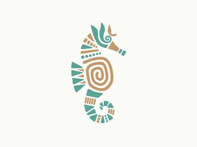 Seahorse Logo In Tribal Style animals oceans nautical visual identity fingerprint marine life jewels jewelry crafts spiral gemstones tribal style arts artistic beauty beautiful logotype branding logo for sale seahorse