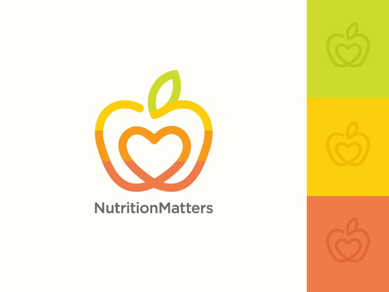 Fruit / Nutrition Logo Design eating smoothies juices markets farmers ecological healthfood rainbow foods healthy organics nutritional nutritionist nutrition hearts colours colourful colors colorful fruits