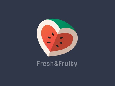 Watermelon Heart Logo Design