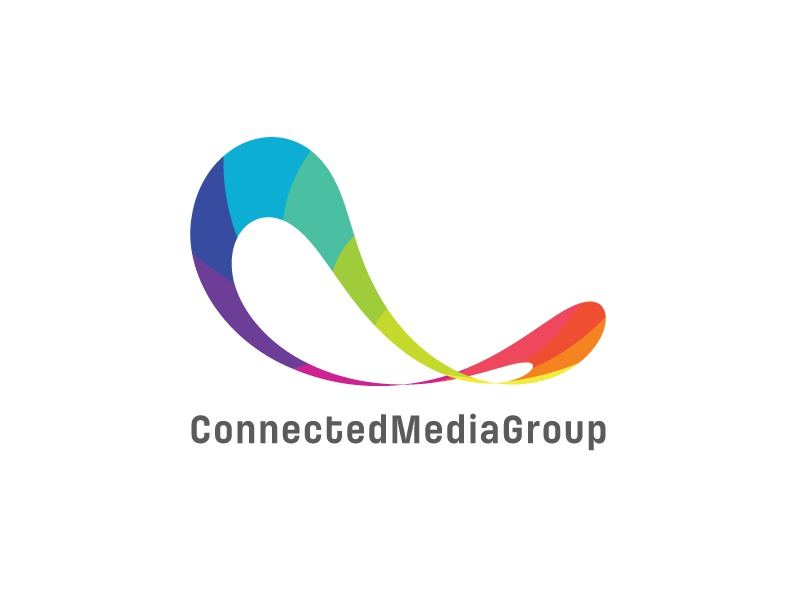 Connected Media Group Logo Design connection flexible infinity infinite ribbons twisted ellipse 3d communications media circles rainbow colours colourful colors colorful circle connected