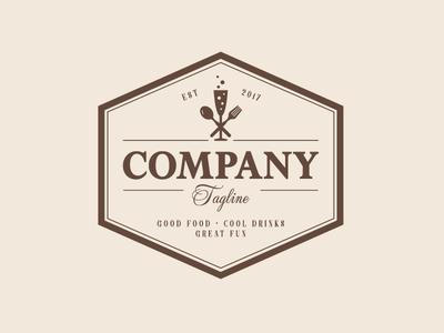 Elegant Vintage Restaurant / Champagne Logo Design