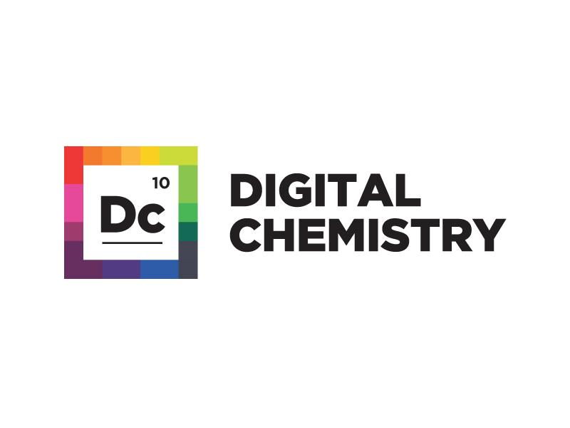 Digital Chemistry / Digital Lab Logo Design online courses branding design logo clean modern digital labs laboratory atom molecule element periodic table chemical chemists alchemists chemist alchemy chemistry