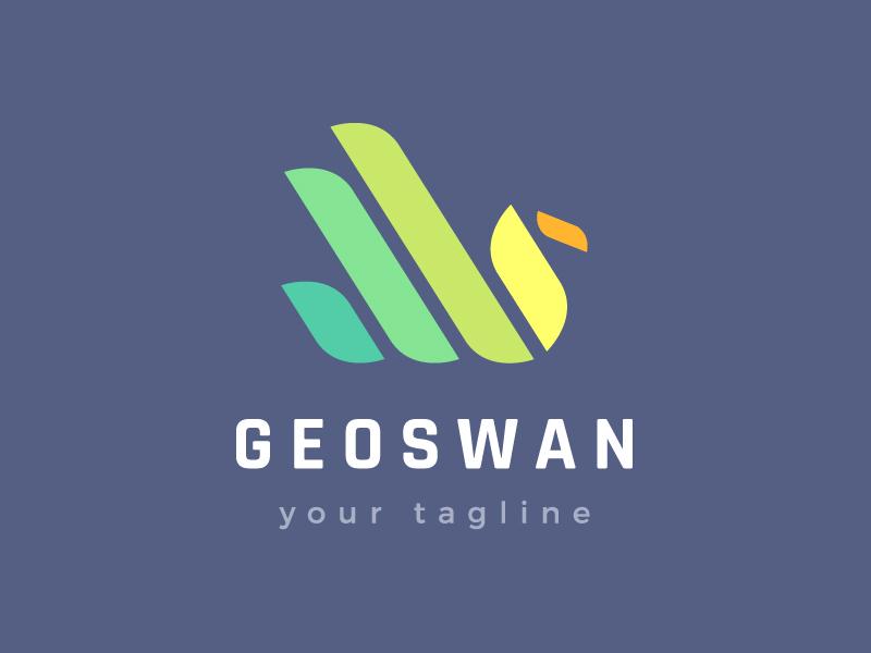 Geometric Swan Logo Design branding logotype logo lines geometry clean modern beautiful taking off beak feathers colours colors rainbow flying swan bird colourful colorful geometric