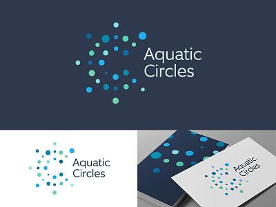 Aquatic Circles Logo Design visual identity logotype brands branding logo attractive beautiful ocean aquamarine blues turquoise letter c concentric dotted circles water drops playful dots aqua