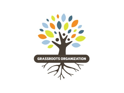 Grassroots Organization / Flourishing Tree Logo Design branding logo natural plants cooperative commons cooperation community thriving thrives roots grassroots organisation organization achievements humans people growth growing tree
