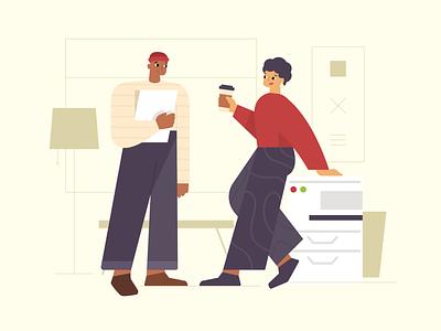 Office workers talking coffee break illustrator working people work office drawing vector illustration