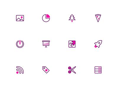 Splash: A duotone icon set (part 6) vector graphic design presentation ai pink iconpack iconset design svg