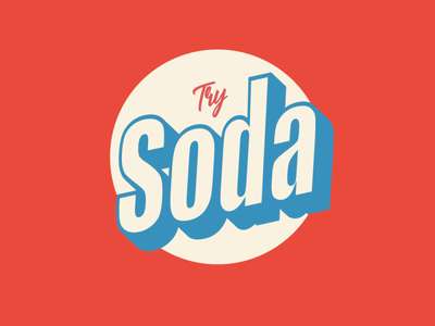 Try Soda minimal abstract 3d cursive brand colorful red try soda try soda art type icon lettering typography vector illustrator logo illustration design