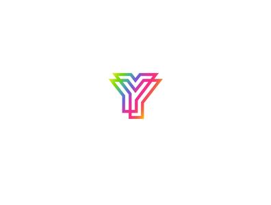 YY rainbow collorful logo design word icon minimal lettering art typography vector illustrator illustration design logo