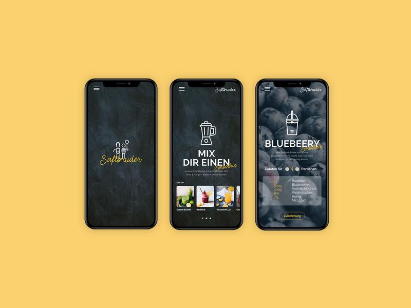 Saftbrüder  Juice App landing page minimal branding design juice mobile editorial design corporate design app ux ui layout