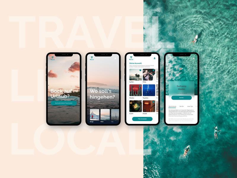 Next Booking App website typography mobile travel minimal editorial design travel app app design ux ui layout