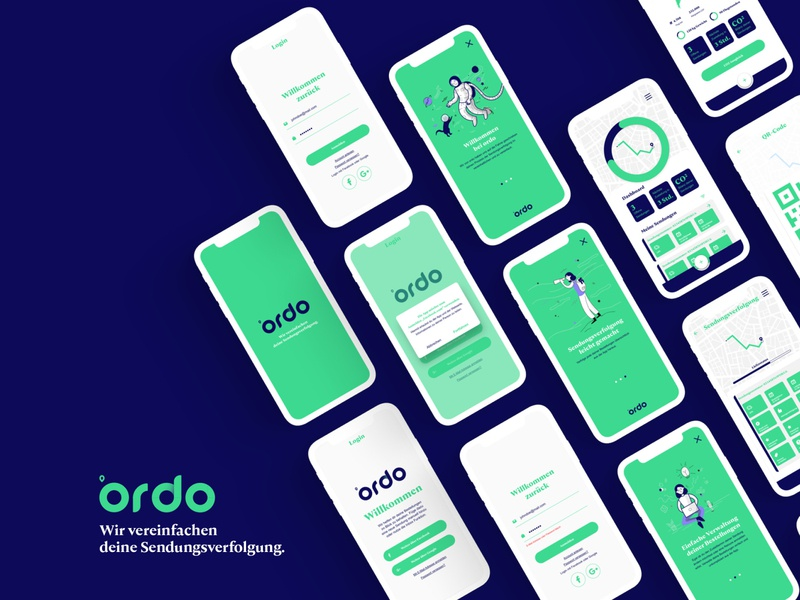 Ordo Tracking App minimal mobile corporate design logo design layout app design app branding ux ui