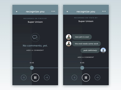 Scratch Track Commenting iphone app scratch track recording messages comments minimal product design ui ux