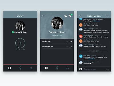 Scratch Track Messaging social profile app minimal product design ux ui ios messaging recording music