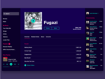 Spotify-esque Music Streaming App minimal color app streaming music