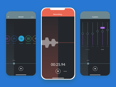 Scratch Track Now Available! dark ui minimal record bands memo ios app recording music