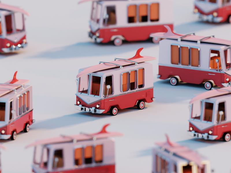 VW Microbus surfing van car modeling blender microbus vw