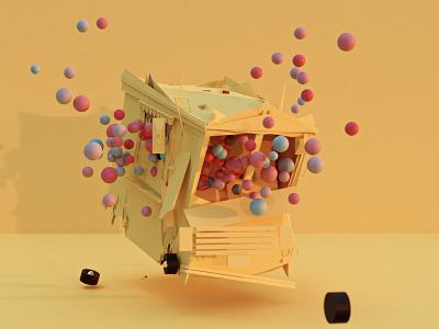 Beauty in Destruction model van cars yellow perspective destruction blender modeling