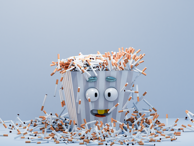 Popcorn concept art smoke basket mouth teeth cartoon eyes movie cigarttes popcorn