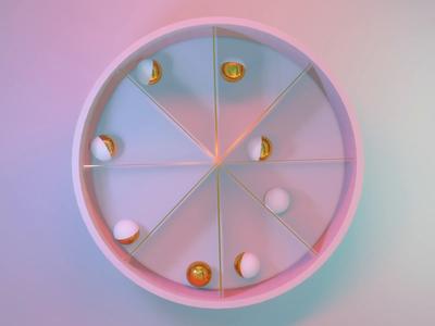 Soothing looping modeling magic wheel spheres gold calm blender animation loop