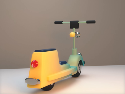 Ride with the flow perspective lowpoly scooter modeling wave 3d blender animation bike vespa