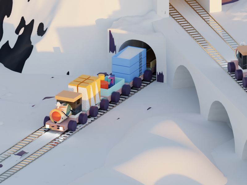 Snowpiercer - Part 1 perspective light track railwaytrack bridge blender3d modeling blender texturing floral cartoon snow