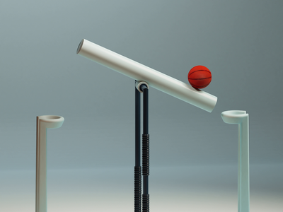 Seesaw simple loopanimation animation loop rolling ball basket b3d modeling blender studio lights 3d sports basketball fun games seesaw