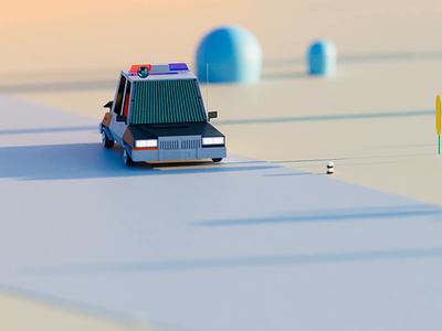 Dive plants road truck cartoon 3d loop modeling animation lowpoly3d lowpoly policecar car blender