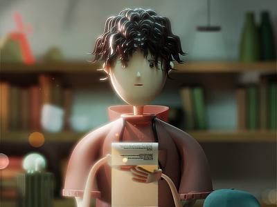 Myself - 3d Character holidays chirstmas paper bookshelf books turtle blender man character 3d