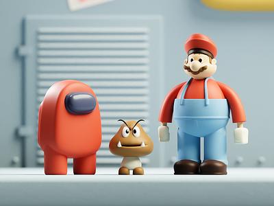 Mario X Amongus character blender vintage games cartoon 3d games amongus