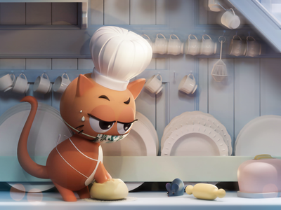 Meet chef little puff covid mask bread toaster plates cartoon rat 3d kitchen chef cat