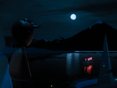 Magical night hill forest perspective blendercycles stars night nightredner hairstyle sky firefly lake trees moon blender3d mountain blender