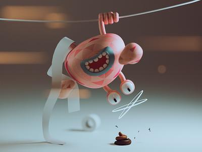 Hey! Hang on blender illustration funillustration modeling 3d hanging toiletpaper toilet shit crab sideproject