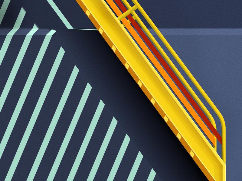 Van Gogh Stairway van gogh minimal perspective illustrations blue blue and yellow signal street