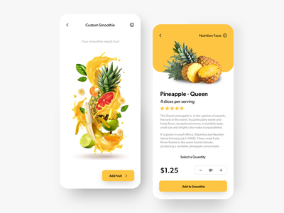 Smoothie App minimal design app uichallenge appdesign ux ui