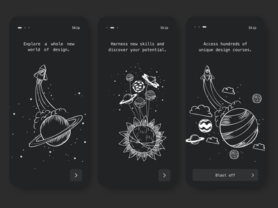 Onboarding - Dark Theme uichallenge ux ui space onboarding mobile minimal darktheme dark appdesign app
