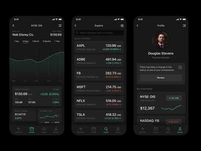 Investment App (Dark Theme) stocks dark mode darktheme investing uichallenge mobile ux ui appdesign
