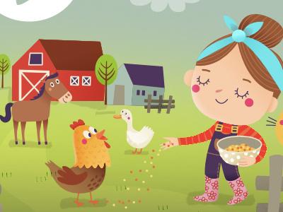On The Farm 01 illustration digital ipad app game horse chicken farm animals