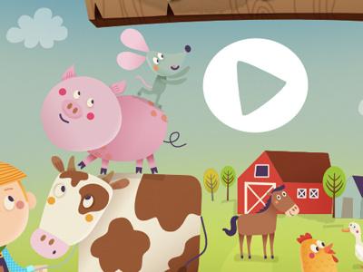 On The Farm 02 illustration digital ipad app game horse chicken pig mouse farm animals
