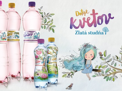 Zlata Studna Bottle watercolor mascot fairy bottle water illustration product