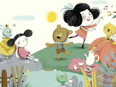 Personal digital character frog children cat bear illustration