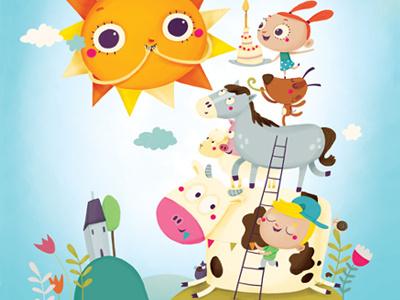Happy Birthday digital illustration children birthday animals sun