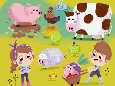 Farm animals childrens magazine illustration art childrens book illustration animals children digital illustration